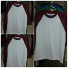 PRO CLUB White Burgundy Long sleeve baseball T shirt  Baseball  shirt S-2X