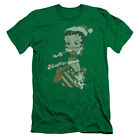 Betty Boop Define Naughty Mens Slim Fit Shirt Kelly Green $22.5 USD