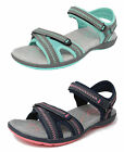 Womens Ladies Sports Sandals PDQ Cushioned Hiking Trail Shoes Blue Grey 3-8