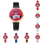 Fashion Womens Teen Boy Girl Kids Brown Pink PU Leather Analog Quartz Wristwatch