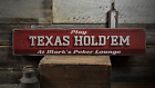 Texas Hold'Em, Custom Card Game Poker - Rustic Distressed Wood Sign ENS1001417