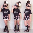 Toddler Kids Baby Girls Outfits Clothes T-shirt Tops+Floral Short Pants 2PCS Set
