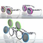 3 Way Flip Up Funky Round Sunglasses Zebra Print Neon Frames Festival/Party UV