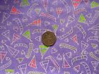 Vintage Novelty tepees canoes print purple patchwork quilting 100% cotton fabric