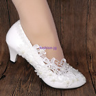 Lace white ivory Pearl Wedding shoes Bridal flats/low/high heel pump size 3-7