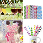 25pcs Biodegradable Paper Drinking Straws Striped Birthday Party Wedding Lot