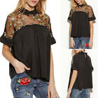 New Women Lace Embroidery Short Sleeve Tops Fashion Blouse Casual T-Shirt Summer