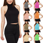 New Women Neck Sleeveless Stretchy Short Clothing Tanks Plus Size High Low Tops