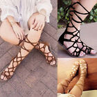 Women Lady Summer Knee High Lace Up Wrap Roman Gladiator Flat Sandals Shoes US