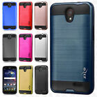 For ZTE ZMAX Champ Z917VL Brushed Metal HYBRID Rubber Case Phone Cover