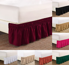 "NEW 1PC ELASTIC ALL AROUND STYLE BEDDING DRESSING BED SOLID SKIRT 14"" DROP  image"