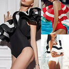 NEW Womens One Shoulder One Piece Swimsuit Plus Size Bikini Ruffle Swim Suit UK