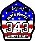 Firefighter 911 Never Forget 343 USA Flag look Decal - Various sizes Free Ship