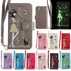 Flip Glow Shine Girl&Cat Leather Card Wallet case Stand Cover for iPhone Huawei