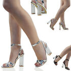 Womens Ankle Strap Clear High Heel Sandals Ladies Peep toe Perspex Party Shoes