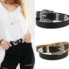 SUP Women Black Leather Western Cowgirl Waist Belt Waistband Single Metal Buckle