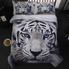 New Animal White Tiger 3D Print Duvet Quilt Cover With Pillow Cases Bedding Set