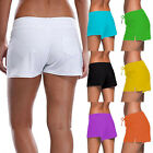Ladies Tie Full Coverage Swim Shorts Solid Color Drawstring Swimwear Stretchy FO