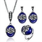 Women Silver Plated Oval Bib Resin Necklace Earrings Ring Vintage Jewelry Sets