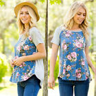New Women Summer Short Sleeve Tops T Shirts Ladies Casual Floral Blouse Top