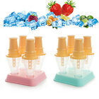 2PCS DIY 4 Freezer Ice Lolly Cream Yogurt Juice Maker Pop Mold Mould Popsicle