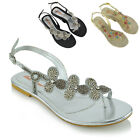 Womens Slingback Toe Post Diamante Sandals Ladies Flat Sparkly Holiday Shoes 3-9