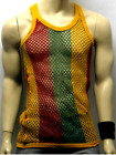 Rastafarian Mesh Fishnet Cotton Muscle String Vest in Red Yellow and Green M/XL