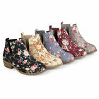 Brinley Co. Womens Floral Fabric Round Toe Stacked Heel Side Slit Booties