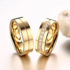 SUP Women Men Couple Wedding Band Rings Gold Plated Crystal Stainless Steel Ring