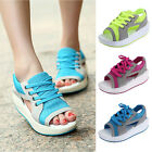 Womens Lace Up Peep Toe Sneakers Summer Wedge Sports Slingback Sandals Shoes PUS
