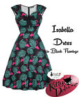 Lady Vintage Isabella Dress in Black Flamingo Print