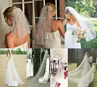 NEW 1 Layer White/ivory Short veil /long veil Cathedral Wedding Bridal Veil+Comb