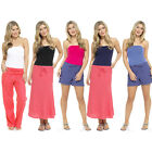 Ladies Womens Bandeau Strapless Boob Tube Ruched Plain Cotton Top Sizes 10 - 22