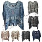 New Ladies Women Italian Lagenlook Quirky Batwing Floral Lace Poncho Kaftan Top