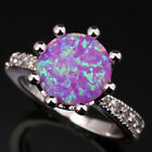 Amazing Sun Circle Pink Fire Opal White Gems Silver Rings Size 6 7 8 9 T1014
