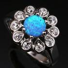 Glaring Flower Blue Fire Opal White Topaz Fashion Silver Ring Size 6 7 8 9 T1098