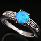 Multicoloured Blue Circle Fire Opal Topaz Fashion Silver Ring Size 6 7 8 9 T1126