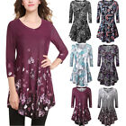 Women Casual Floral Printe VNeck Tunic 3/4Sleeve Flared Top Mini Dress Plus Size