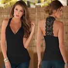 S-XL Women Lady Summer Lace Vest Top Sleeveless Casual Tank T-Shirt Blouse Tops