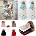 US Baby Kids Fur Pom Bobble Cap Newborn Boys Girl Warm Knit Beanie Hat Xmas Gift