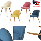 Set of 4 Dining Chairs Strong Back Metal Legs & Fabric Padded Seat Armless Chair