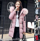 Women Winter Down Cotton Long Big Fur Collar Hood Coat Jacket outwear Parka