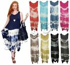 New Womens Ladies Italian Lagenlook Tie Dye Sleeveless Dress Tunic Top (UK 8-20)