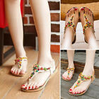 Womens Summer Bohemian Beaded Toe Post Beach Sandals Flat Thong Shoes Flip Flops