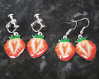 Strawberry Earrings Silver Plated Fish hook or Screw on/Clip on