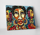 African Women Colourful Paint Design Canvas Home Wall Art Picture Print A2 A1 A0