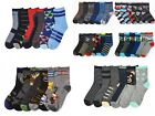 6 Pairs Boys Crew Socks Toddler, Little Kid or Big Kid Sizes Assorted Designs