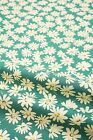 Pretty Pure Cotton Fabric White Daisy Flowers on Green Lightweight