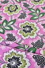 Pure Cotton Fabric Funky Retro Pretty Pink Fabric Green Leaves Foliage Flowers