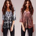 Womens Lady Printing Floral Casual T-shirt Top Blouse Fashion Loose V-Neck Shirt